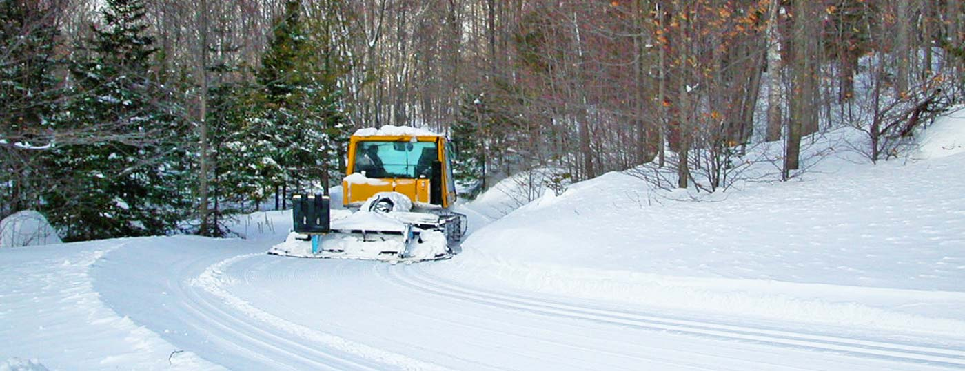 Snowcat grooms Garnet Hill's private ski trails in the Adirondacks
