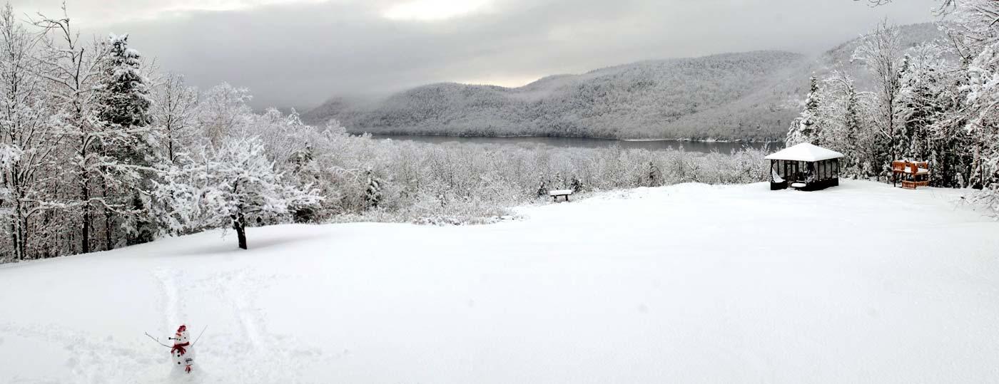 Winter at Garnet Hill Lodge, overlooking Thirteenth lake