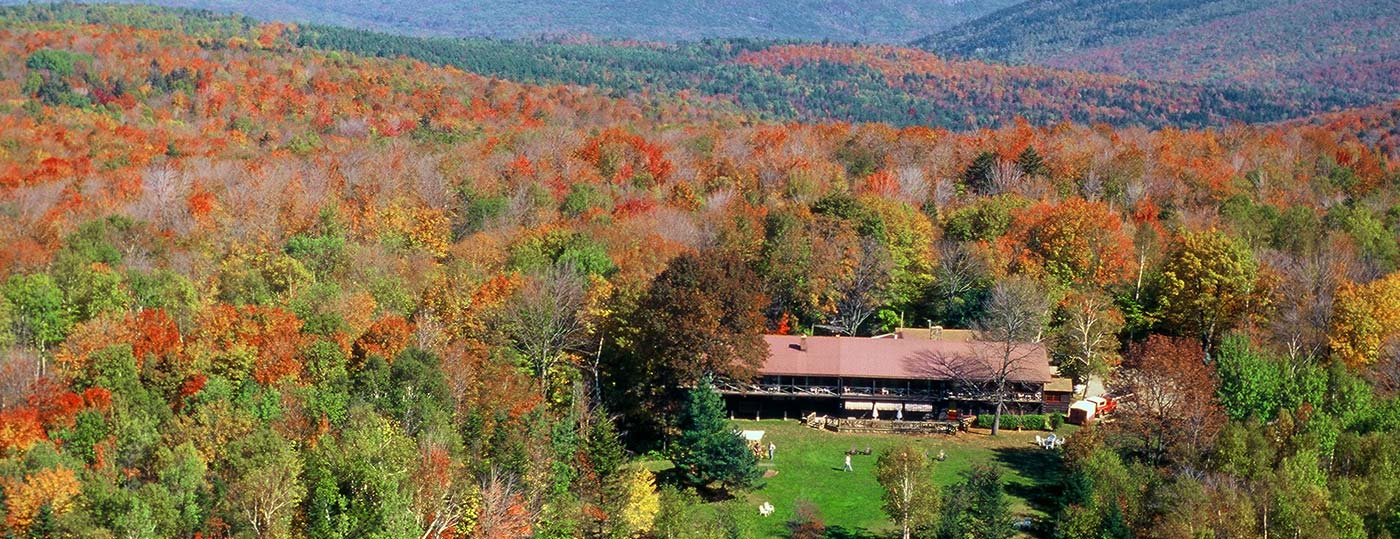 Garnet Hill Lodge nestled into the Adirondack's fall foliage