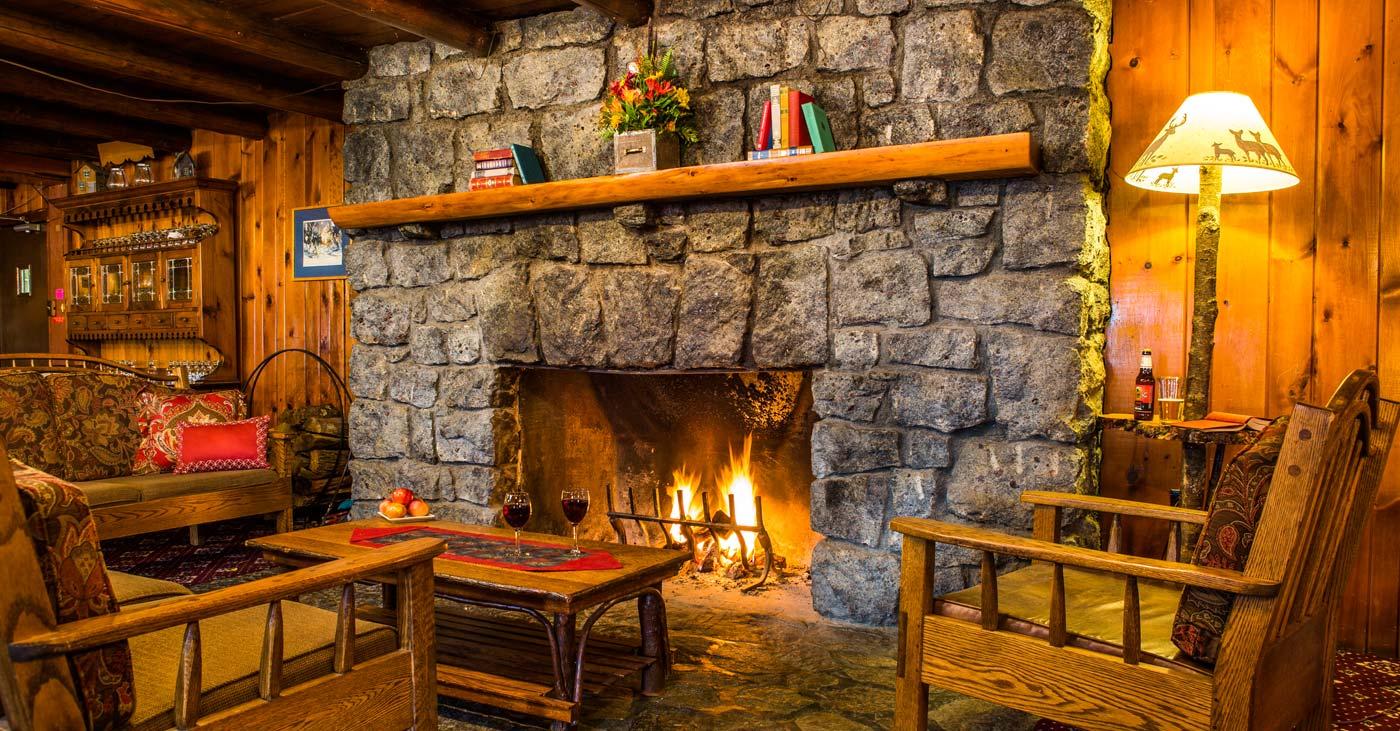 Cozy Fireplace inside the Garnet Hill Lodge & Ski Resort near North Creek NY