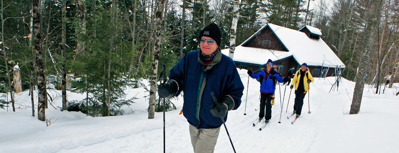 Guests enjoy the nation's top nordic ski center at Garnet Hill in the Adirondacks