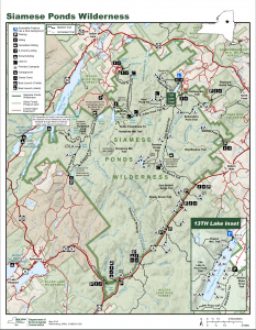 Map of trails in the Siamese Ponds Wilderness Area