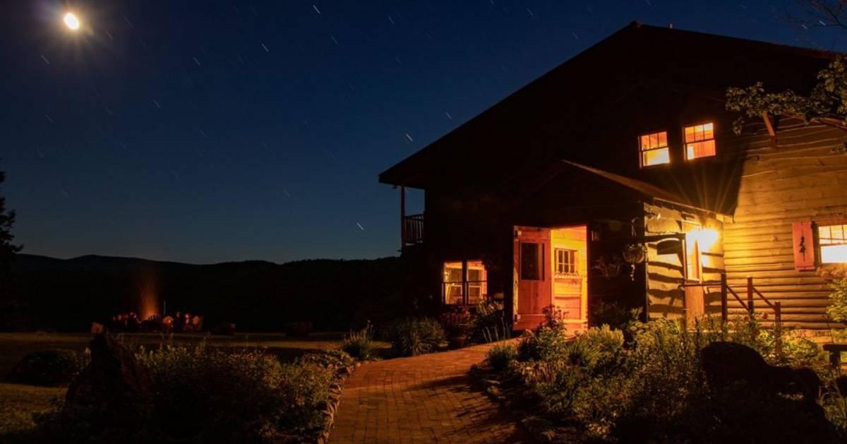 lodge at night, fire