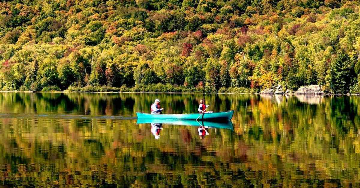man and woman canoeing in fall