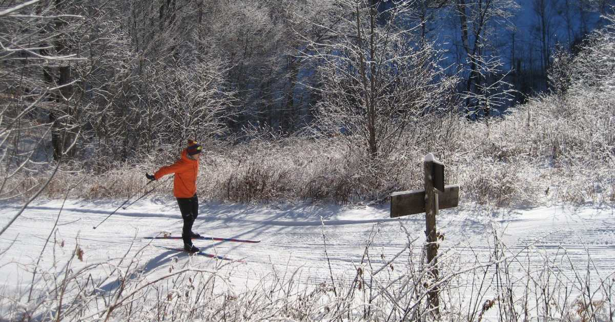 one person skiing on a trail