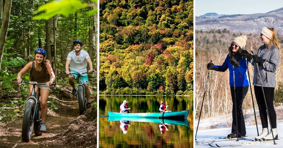 image split in three of mountain bikers in summer, boaters in fall, and cross-country skiers in winter