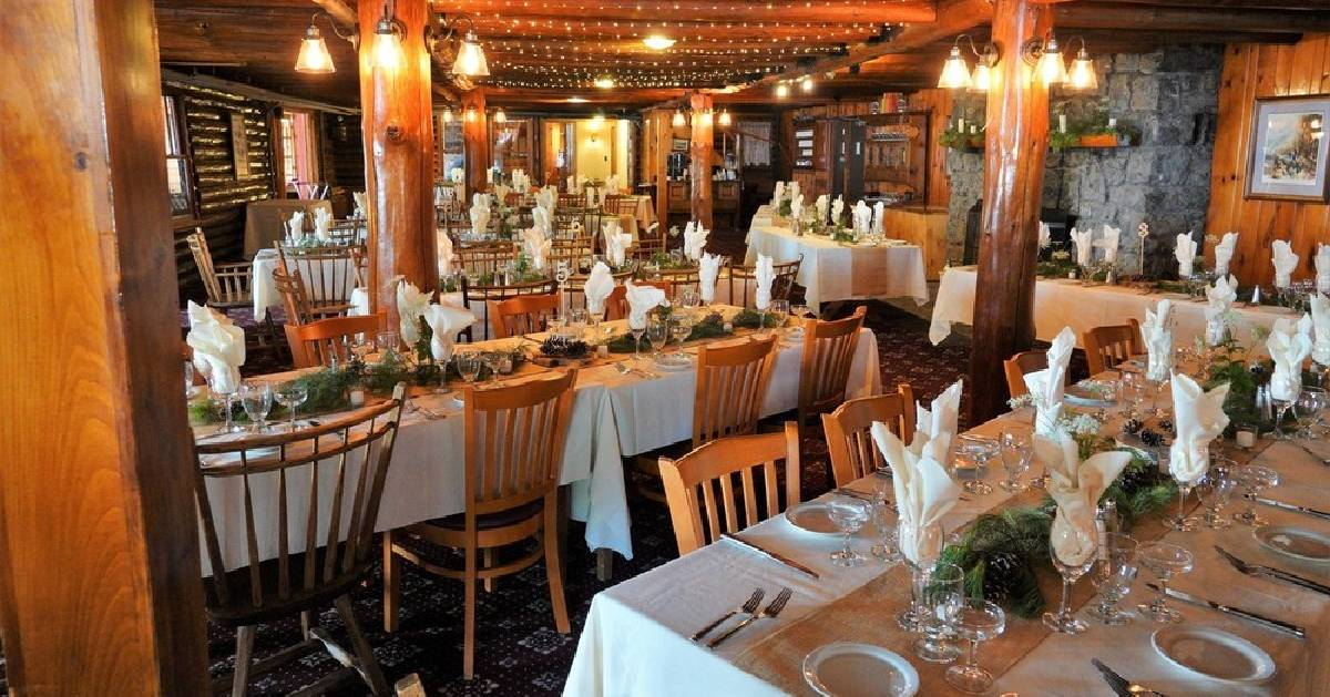 dining area set up for a wedding