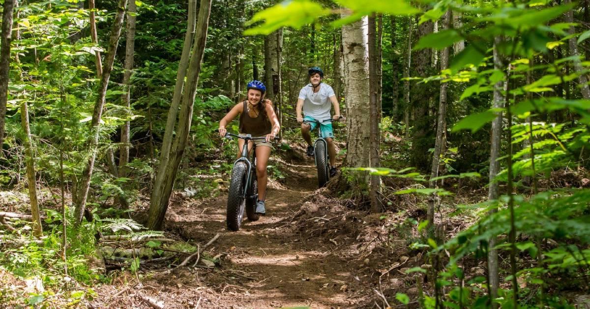two people mountain biking
