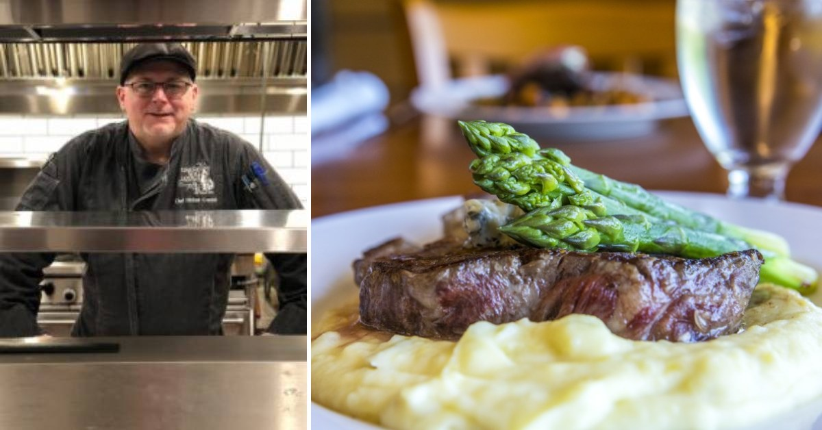 left image of chef and right image of steak